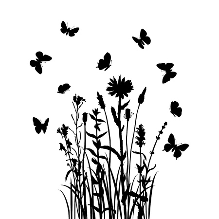 Vector silhouette of wild plants, grass, flowers and butterflies, hand drawn illustration, natural floral template Illustration
