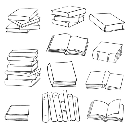 vector set of drawing books