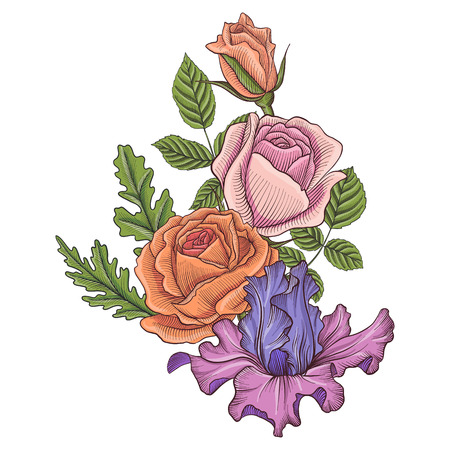 vintage vector floral composition Vettoriali