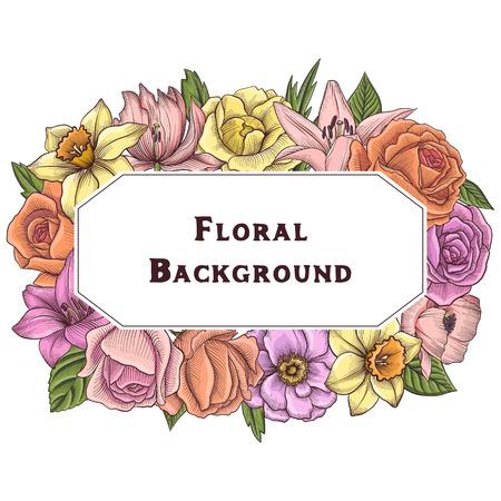 vintage vector floral composition Illustration