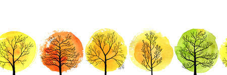 vector seamless pattern with autumn trees Illustration
