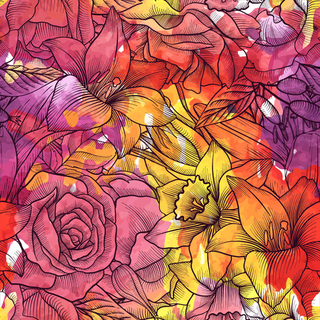 vintage vector floral seamless pattern Illustration