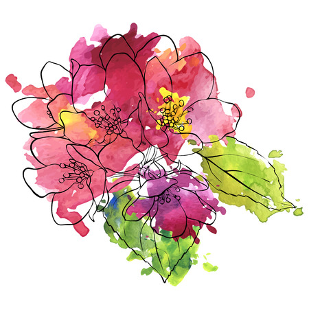 vector drawing apple tree blossoms and leaves and watercolor paint stains, hand drawn illustration