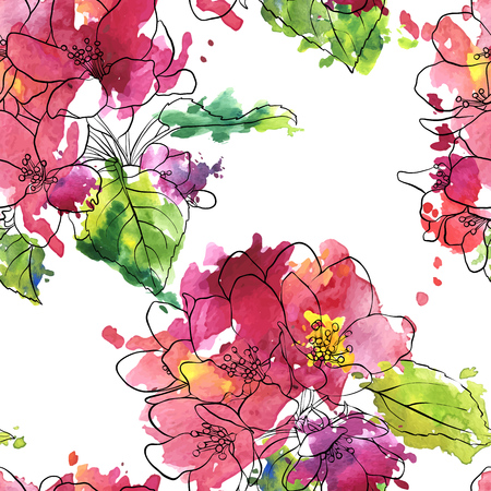 vector seamless pattern with apple blossoms Illustration