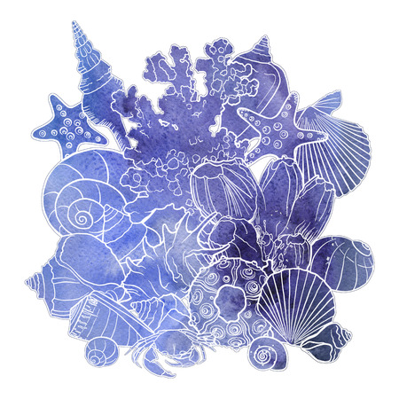 watercolor background with seashells Stock fotó