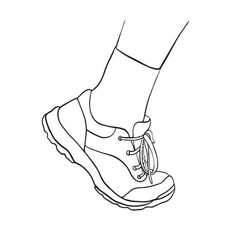 line drawing foot shoe in sneaker and sock solated at white background, hand drawn illustration