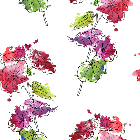 vector seamless pattern with drawing pink flower and watercolor paint stains, floral background, hand drawn botanical illustration