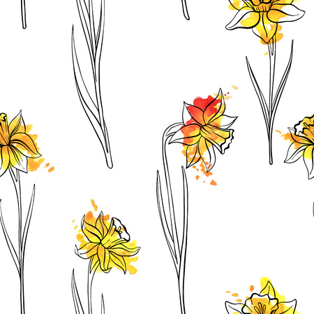 vector seamless pattern with drawing flowers of narcissus, floral background with watercolor paint stains, hand drawn illustration