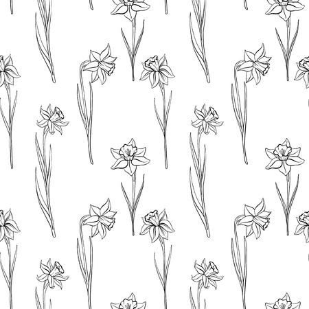 vector seamless pattern with drawing flowers of narcissus, floral background, hand drawn illustration