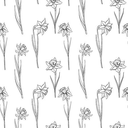 wektor wzór z rysunkowymi kwiatami narcyzów, kwiatowym tłem, ręcznie rysowaną ilustracją