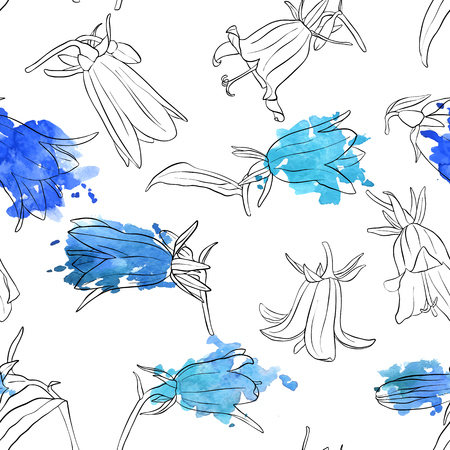 vector seamless pattern with drawing bell flowers and watercolor paint stains, floral ornament, hand drawn botanical illustration