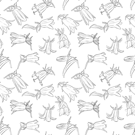 vector seamless pattern with drawing bell flowers, floral ornament, hand drawn botanical illustration