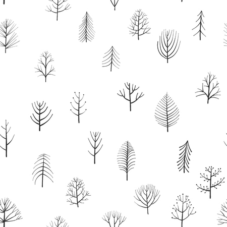 vector seamless patterns with doodle trees at white background, hand drawn natural ornament