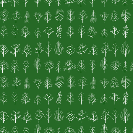 vector seamless patterns with doodle trees at green background, hand drawn natural ornament
