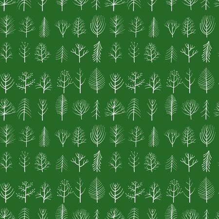 vecteur, seamless, modèle, à, griffonnage, arbres, à, arrière-plan vert, main, dessiné, naturel, ornement