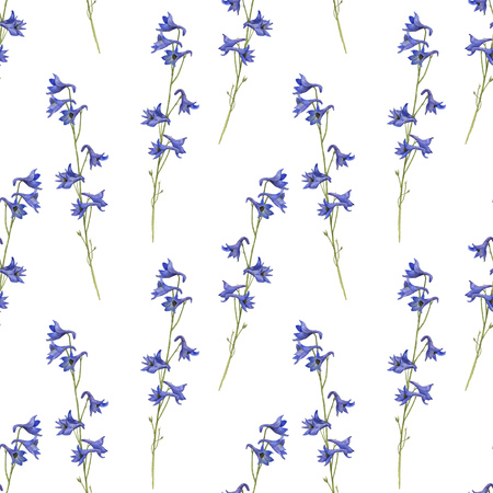 seamless pattern with watercolor drawing plants