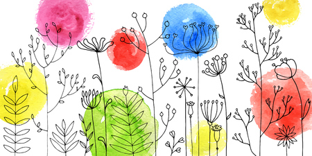 Vector background with doodle abstract herbs and flowers and watercolor paint stains, floral template