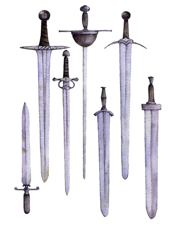watercolor swords at white background Archivio Fotografico
