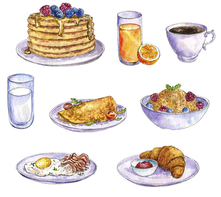 watercolor drawing breakfast