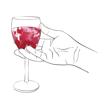 hand with glass of red wine, line drawing isolated symbol at white background