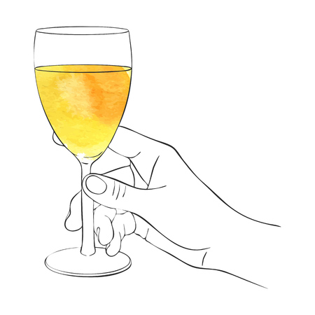 hand with glass of white wine, line drawing isolated symbol at white background Vektorové ilustrace