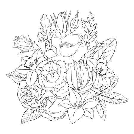 Strichzeichnung Vektor florale Komposition mit Blumen, Knospen und Blättern, Malvorlagen für Erwachsene, handgezeichnete Illustration