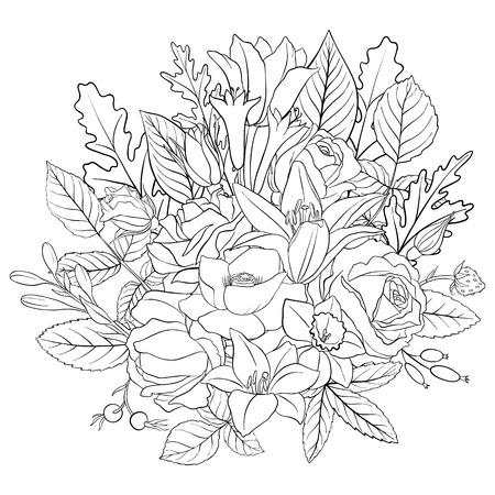 line drawing vector floral composition with flowers, buds and leaves, coloring page for adult, hand drawn illustration