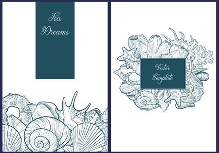 vector backgrounds with seashells