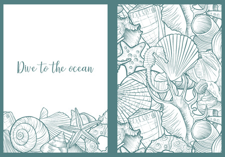 vector backgrounds with seashells