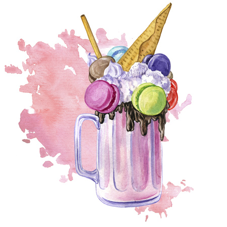 watercolor milkshake with ice cream Stock Photo