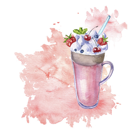 watercolor milkshake with fresh berries Stock Photo