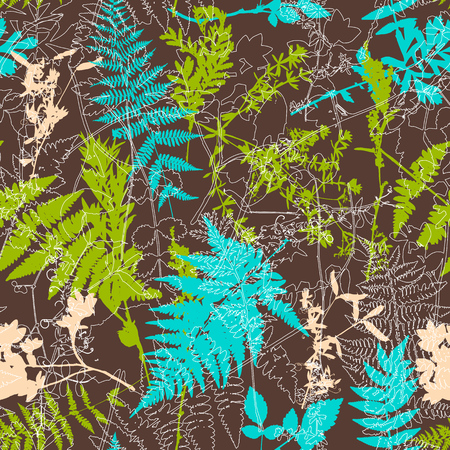 Vector seamless pattern with leaves and plants silhouettes, floral background
