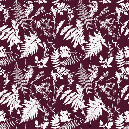 Vector seamless pattern with leaves and plants silhouettes, floral background Illustration