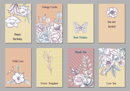 vintage vector floral cards with flowers and leaves, hand drawn templates for invitation, flyer or gift crad Vector Illustratie