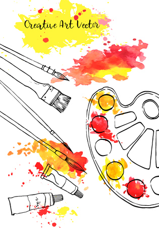 tło z materiałami artystycznymi i plamami akwarelowymi, ręcznie rysowane ilustracji wektorowych