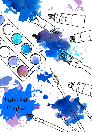 background with art materials and watercolor stains, hand drawn vector illustration Vector Illustration