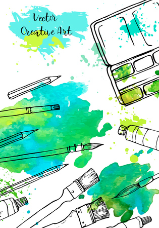background with art materials and watercolor stains, hand drawn vector illustration