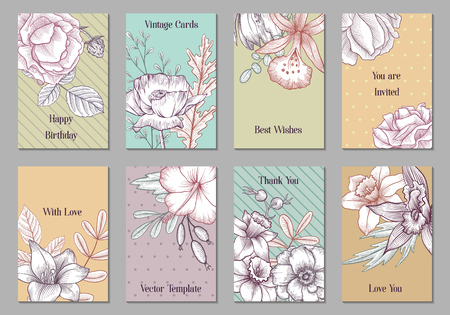 vintage vector floral cards with flowers and leaves, hand drawn templates for invitation, flyer or gift crad