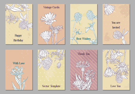 vintage vector floral cards with flowers, hand drawn templates for invitation, flyer or gift crad