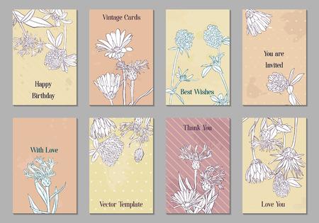 Vintage-Vektor-Blumenkarten mit Blumen, handgezeichnete Vorlagen für Einladungen, Flyer oder Geschenkkarten