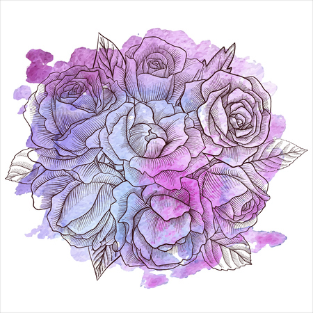 vintage vector floral composition with flowers, buds and leaves of roses at watercolor background, imitation of engraving, hand drawn design element  イラスト・ベクター素材