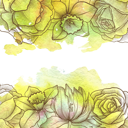 vintage vector floral composition with flowers, buds and leaves of roses at watercolor background, hand drawn design element Ilustração