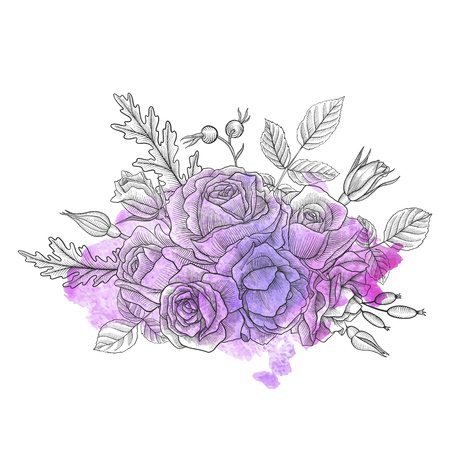 vintage vector floral composition with flowers, buds and leaves of roses at watercolor background, imitation of engraving, hand drawn design element Ilustração
