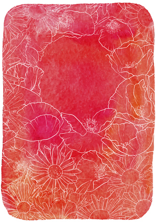 vector drawing bouquet of flowers, floral composition at red watercolor background, hand drawn illustration Imagens - 124723490