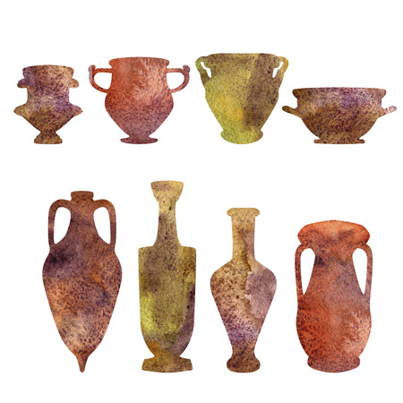 Antique ceramics, watercolor silhouettes Stock Photo