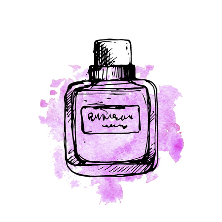 vector drawing sketch of perfume bottle at pink watercolor background