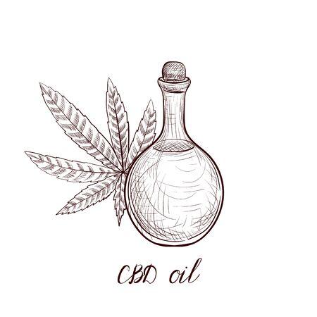 vector drawing CBD oil