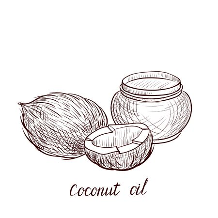 vector drawing coconut oil