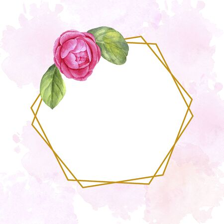 watercolor floral template with flower