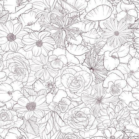 vector, seamless, patrón, con, dibujo, flores